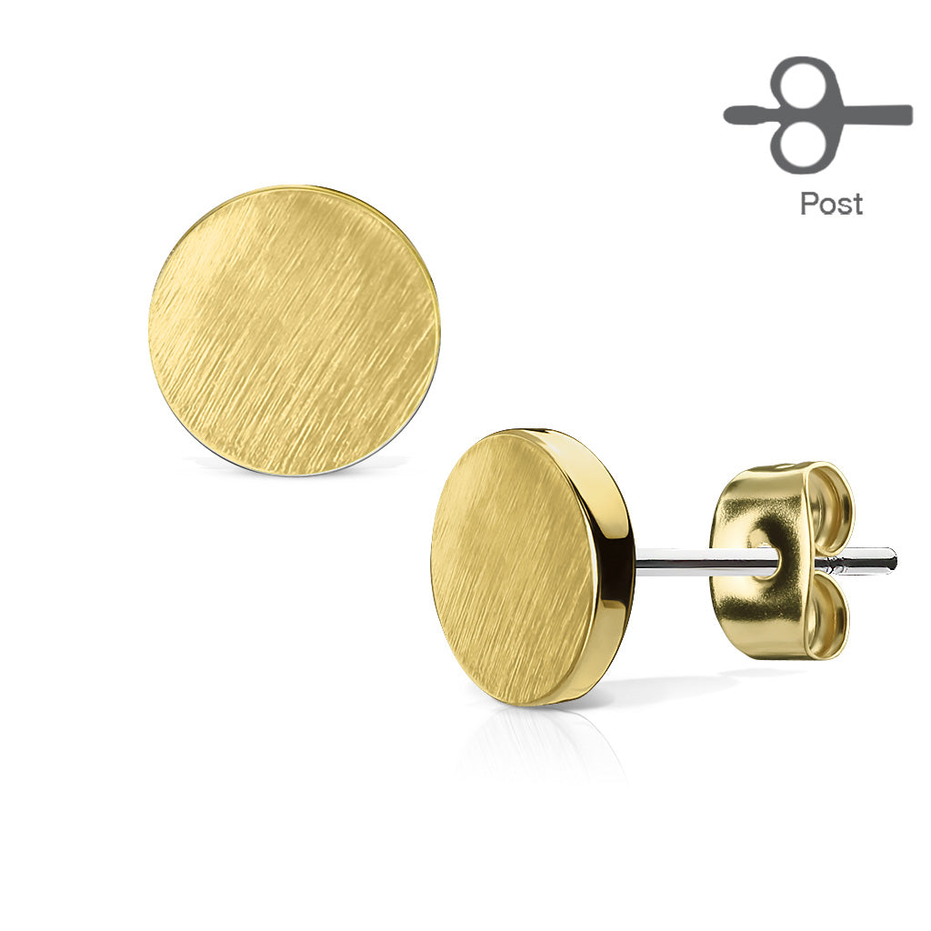 Golden Discs - 14k Gold Plated Brushed 7mm Flat Disc Earrings