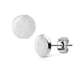 Silver Discs - Stainless Steel Brushed 7mm Flat Disc Earrings