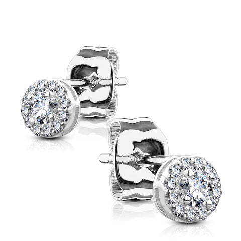 Silver Treasure - Women's Sterling Silver Clear CZ Halo Stud Earrings