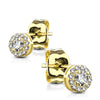 Gold Treasure - Women's 14k Gold Plated Sterling Silver Clear CZ Halo Stud Earrings