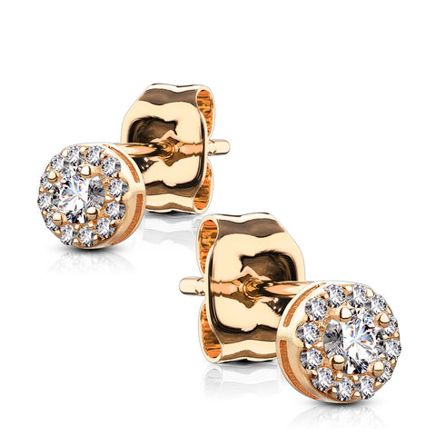 Rose Gold Treasure - Women's 14K Rose Gold Plated Sterling Silver Clear CZ Halo Stud Earrings
