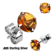 Harvest Sky - Round-Cut Yellow Topaz CZ Sterling Silver Stud Earrings