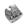 Eagle Warrior - Open wingspan eagle with star shield antiqued stainless steel men's ring