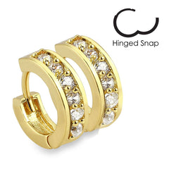 Notion – Gold-plated cubic zirconia studded hinged hoop earrings