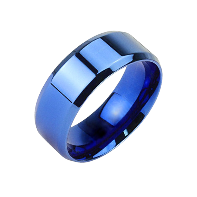 Edge of Blue 8mm - Smooth Detail Blue IP Beveled Edge Stainless Steel Ring