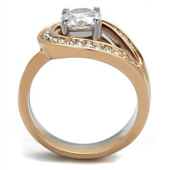 Eleanor - Women's Stainless Steel Two-Tone Rose Gold IP Ring with AAA Grade Interlocking CZ Stone Wedding Set