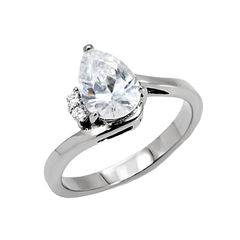 Elegance - Women's High Polished Stainless Steel Ring with AAA Grade CZ Clear Stones