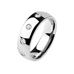 Endless Love - Couples CZ Stainless Steel Eternity Comfort Ring