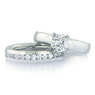 Eternity and Everlove Wedding Set - Graceful Set Of Stainless Steel Comfort Fit Wedding Bands R-10032-R-10034