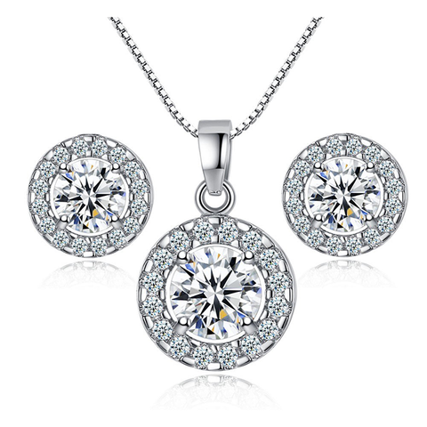 Everlasting Halo Earrings and Necklace Set - Gorgeous Clear CZ Stone Halo Earrings and Necklace Set