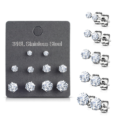 Everyday Elegance CZ Studs (5 Pack) - Women's 5 Pack Assorted Sizes CZ Stud Earrings