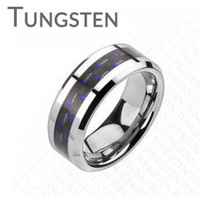 Executive Blue - FINAL SALE Tungsten Comfort Fit Ring with Carbon Fiber Blue Inlay