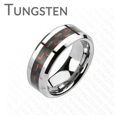 Executive Red - Red and Black Tungsten Carbide Carbon Fiber Ring