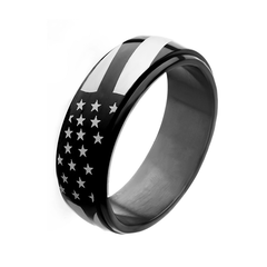 Patriot in Black - Men's Stainless Steel American Pride Black IP Spinner Ring