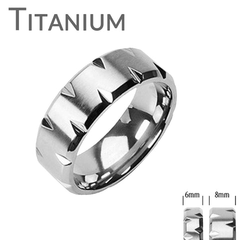 Faceted Edges - Modern Style Brushed Titanium Comfort Fit Faceted Edges Ring