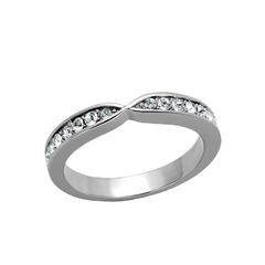 Faye - Women's High Polished Stainless Steel with Top Grade Clear Rhinestones