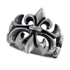 Fleur De Life – Black oxidized stainless steel detailed fleur de lis ring
