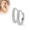 Florence Hoop Earrings - Micro CZ Paved Steel Hoop Earrings