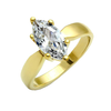Francesca - Women's Stainless Steel Ring Gold Ion-Plated Ring with 2.75 CT. Eq. Marquise Cut CZ Stone