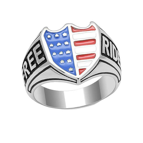 Free Rider - Men's High Polished Stainless Steel Ring with Epoxy American Flag Shield