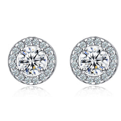 Everlasting Halo Earrings - A Gorgeous Pair of Clear CZ Stone Halo Earring Studs
