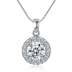 Everlasting Halo Necklace - A Gorgeous Halo CZ Stone Necklace
