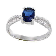 Frozen - FINAL SALE Oval cut sapphire cubic zirconia solitaire sterling silver with white pavé cz double band ring