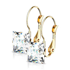 Princess Earrings in Gold - Women's Square CZ with Lever Back Stainless Steel Gold IP Plated Earrings