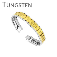 Gold Rush - Sophisticated Checkerboard Pattern Design Silver and Golden Tungsten Carbide Bio-Magnetic Bracelet