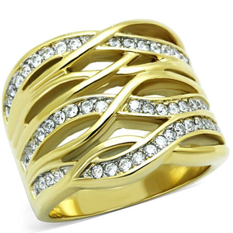 Golden Dreams - Cubic Zirconia Embellished Gold Stainless Steel Ring