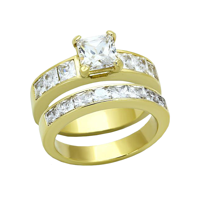 Golden Hour - Women's Stunning Stainless Steel Gold IP Wedding Set with Princess Cut CZ Stones