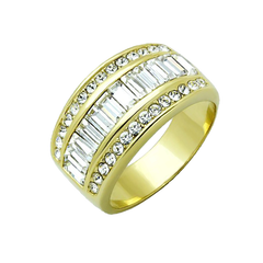 Golden Romance - Women's Gold IP Stainless Steel Ring with Top Grade Crystal Clear CZ Stones