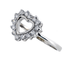 Grace - Rhodium Plated Sterling Silver Crowned Heart Ring with Cubic Zirconia