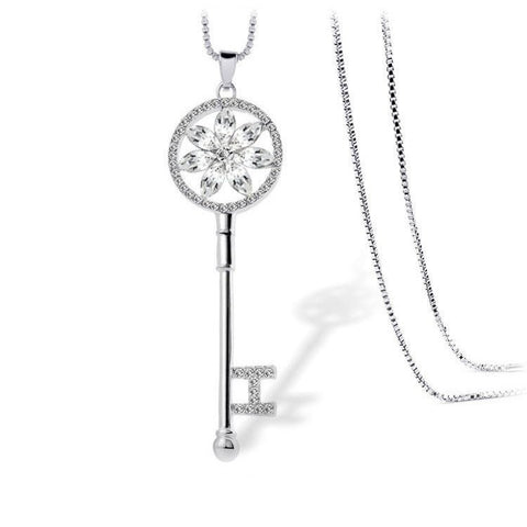 Clear Floral Shine - White Gold Plated Key Necklace With Clear Crystals