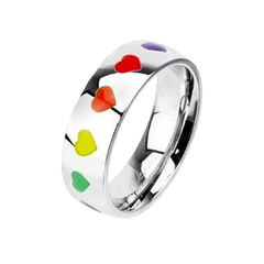 Hearts All Around - Stainless Steel Band With Rainbow Hearts
