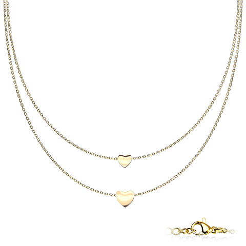 Hearts of Gold Necklace - Gold Plated Graduated Heart Pendants on Double Layered Stainless Steel Chain Necklace