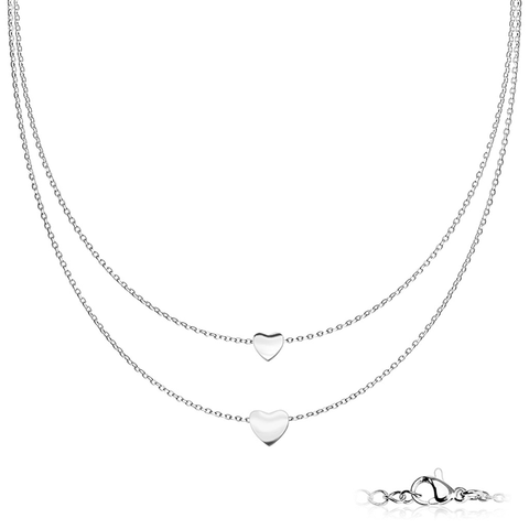 Hearts of Silver Necklace - Graduated Heart Pendants on Double Layered Stainless Steel Chain Necklace