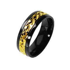 High Roller Ring - FINAL SALE Miniature Semi Prism Design Glossy Gold Finish with Black Border Titanium Ring