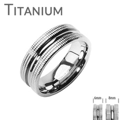 High Caliber - Double Textured Solid Titanium Couples Ring