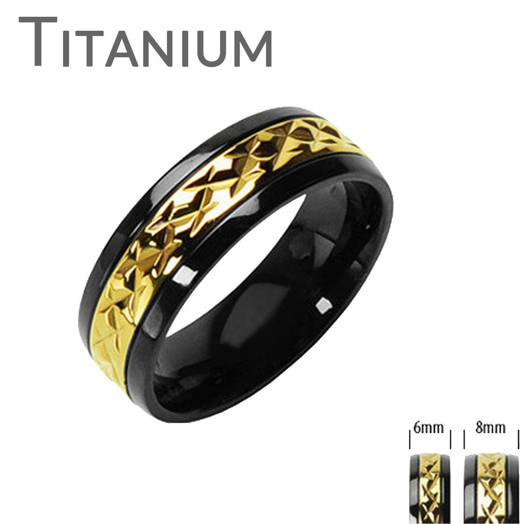 prism miniature finish roller glossy stainless ring rings collections featuring steel blue design with high gold black border titanium jewelry r semi