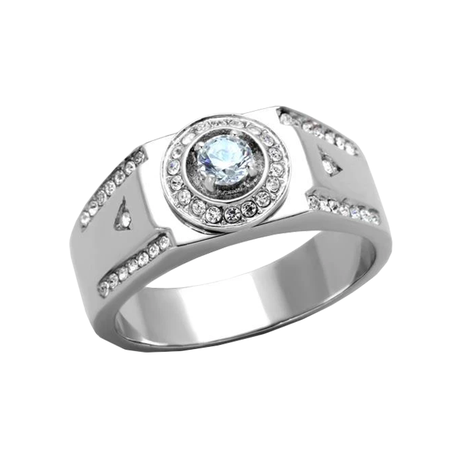 Hollis - Men's Stainless Steel Clear CZ Statement Ring