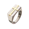 Holy Trinity - Men's Stainless Steel Ring with Gold Plated Transfiguration Cross