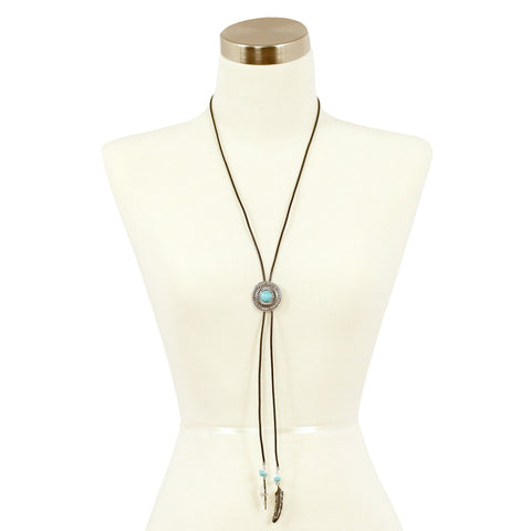 Sparkling Sage - Detailed Stone and Feather Lariat Necklace