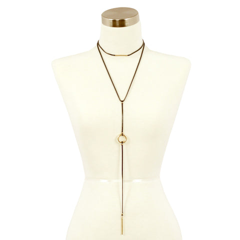 Sparkling Sage - Layered Faux Leather Choker and Y Necklace