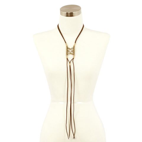 Sparkling Sage - Detailed Faux Leather Bolo Style Necklace