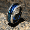 Blue Tungsten Spinner - Multi Faceted Silver and Blue Tungsten Carbide Spinning Center Band