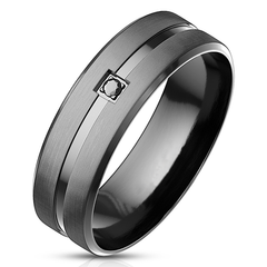 Invincible - Men's Matte Black with Shiny Groove Stainless Steel CZ Ring