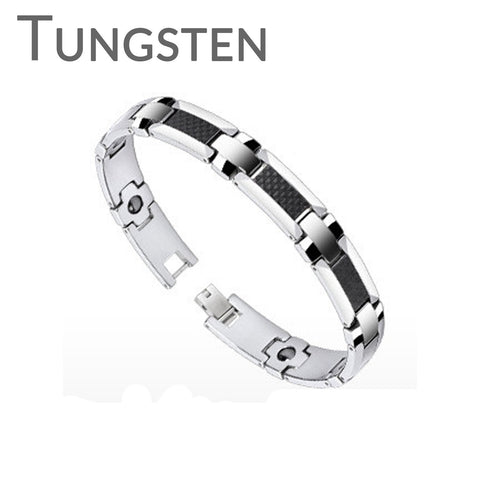 Invincible - Handsome Looking Black and Tungsten Carbide Stylish Bio Magnetic Bracelet