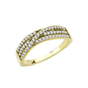Judy - Women's Stainless Steel Gold Ion- Plated Ring with AAA Grade Round Clear CZ Stones