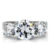 Lamour - A Magnificent High Polished Stainless Steel Ring with Three AAA Grade CZ Stones
